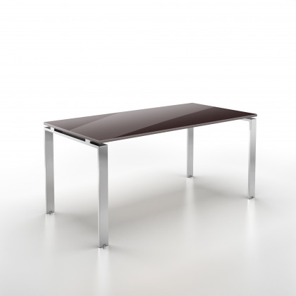 Geradliniger Schreibtisch DoriaGlas mit verchromtem Gestell