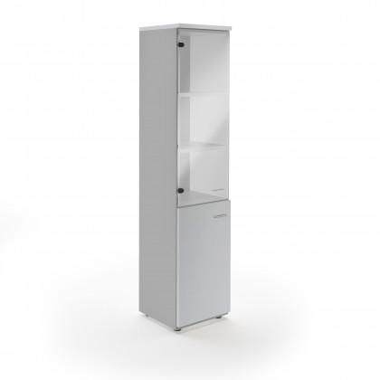 Hoher Schrank mit Holz- und transparenten Glastüren New Rossana B45 cm.