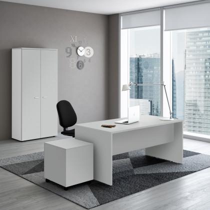 Geradliniger Schreibtisch New Rossana mit Holzseitenwänden