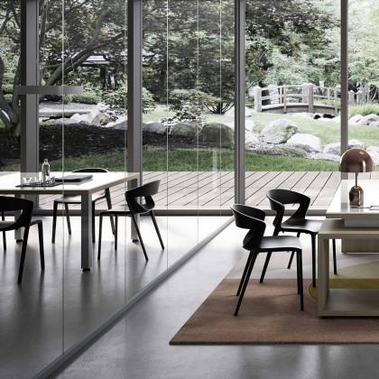 Viereckiger Konferenztisch mit Metall-Fußgestellen Brera