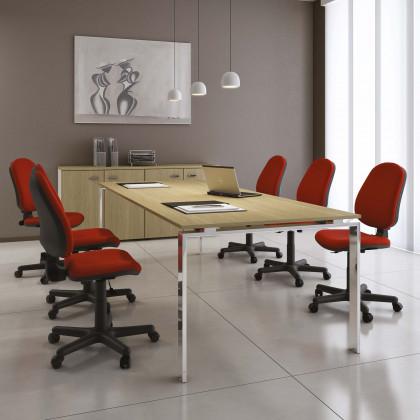 Konferenztisch Doria Meeting 4/6 Plätze mit verchromtem Gestell
