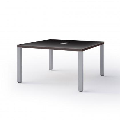 Viereckiger Konferenztisch mit Metall-Fußgestell Brera Glass