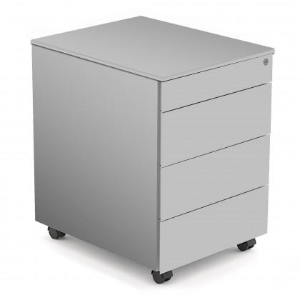 Rollcontainer aus Metall mit 3 Schubladen + 1 Schubladeneinsatz für Büro-Utensilien Art. 0177