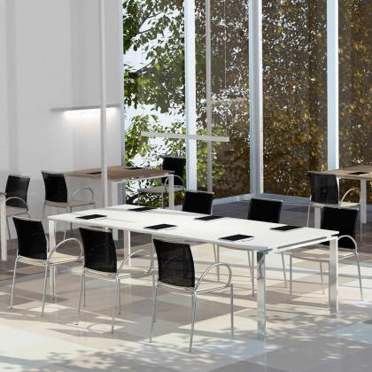 Konferenztisch Doria 6 Plätze mit verchromtem Gestell