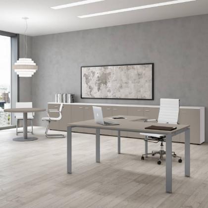 Komplettbüro Doria mit hohem Schrank, Stuhl und Container.