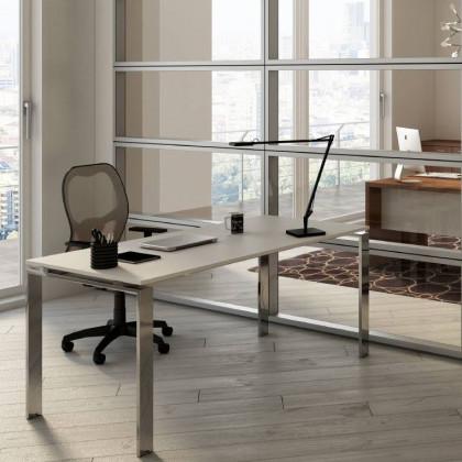 Geradliniger Schreibtisch Doria mit verchromtem Gestell