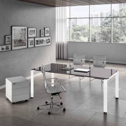 Komplettbüro Doria vetro mit Schreibtisch, Container und Sesseln.