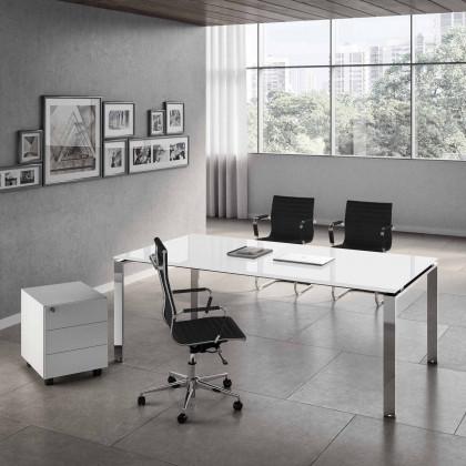 Komplettbüro Doria vetro mit Schreibtisch, verchromtem Gestell, Container und Sesseln.