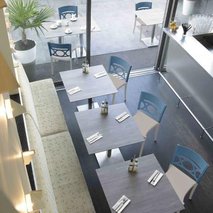 Kompletter Tisch H 73 zusammengesetzt aus dem Gestell Tetra und der Platte Sweden Touch