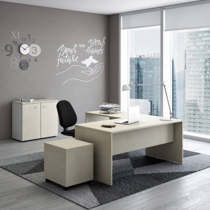 Komplettbüro New Rossana mit Anbautisch, Container, Regal und Stuhl.