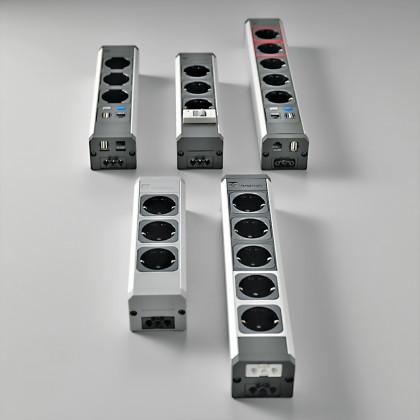Modulare Steckdosenleiste elektrischer und Datenversorgungsmodule. Art. VERSATEK