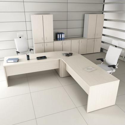 Bureau complet New Rossana avec retour, caisson, armoire et siège