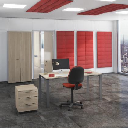 Bureau complet Doria avec armoire haute, siège et caisson