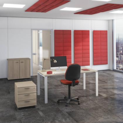 Bureau complet Doria avec armoire basse, siège et caisson