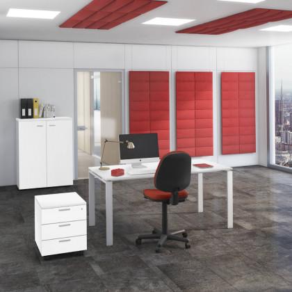 Bureau complet Doria avec armoire mi-haute, siège et caisson