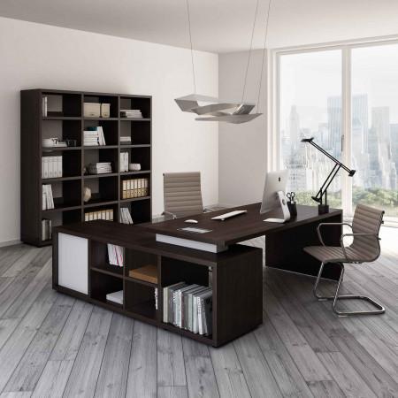 Ufficio completo Brera 2.0 con allungo portante, libreria e poltrone.