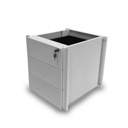 Cassettiera monoblocco tre cassetti in metallo da inserire in allunghi di servizio