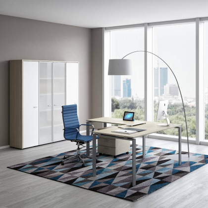 Ufficio completo  Doria con armadio basso, seduta e cassettiera.