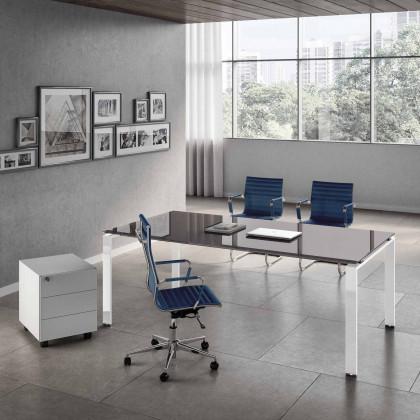 Ufficio completo Doria vetro con scrivania, cassettiera e poltrone.