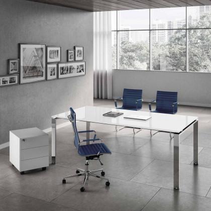 Ufficio completo Doria vetro con scrivania, gamba cromata, cassettiera e poltrone.