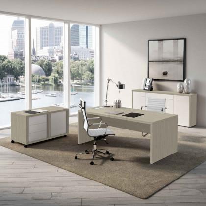 Ufficio completo Brera  2.00 con mobile di servizio, libreria e poltrone.