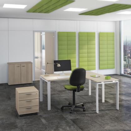 Ufficio completo  Doria con armadio basso, seduta e cassettiera