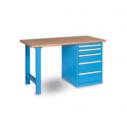 Banco da lavoro con cassettiera a 5 cassetti e piano in legno per officine