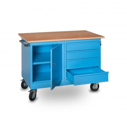 Banco da lavoro su ruote con piano in legno, cassettiera e anta